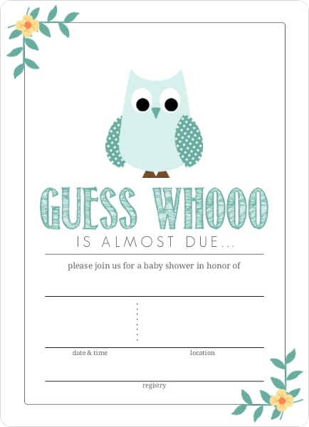 Teal Blue Owl Fill In The Blank Baby Shower Invitation Owl Baby