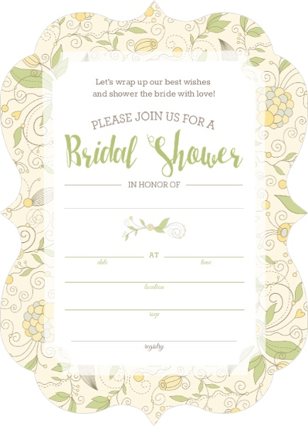 Whimsical yellow flower bridal shower fill in the blank for Bridal shower fill in invitations