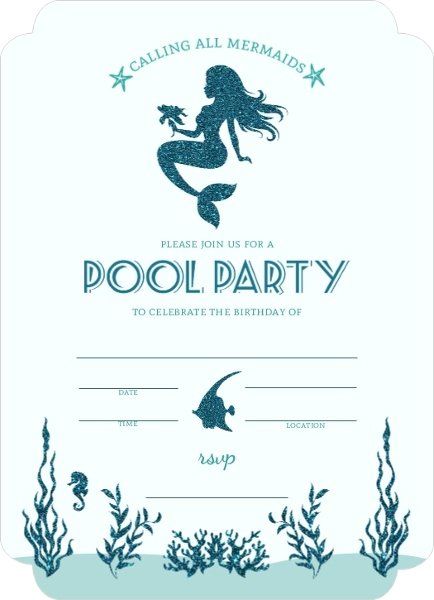 Mermaid Pool Party Fill In The Blank Invitation Blank