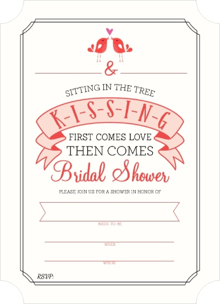 K i s s i n g bridal shower fill in the blank invitation for Bridal shower fill in invitations