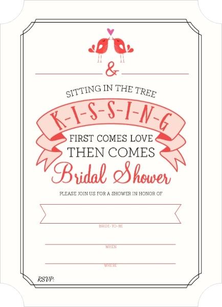 K i s s i n g bridal shower fill in the blank invitation for Bridal shower email invitations