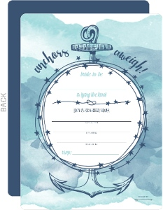 Blue Watercolor Anchor Bridal Shower Fill-in-the-blank Invitation