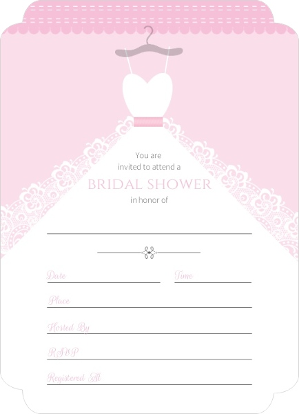 white wedding dress fill in the blank bridal shower invite ForBridal Shower Fill In Invitations