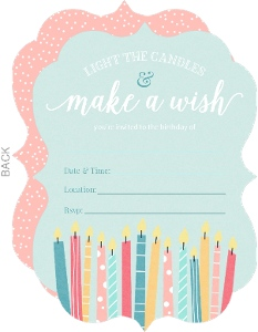 Whimsical Candle Wishes Fill In the Blank Birthday Party Invitation