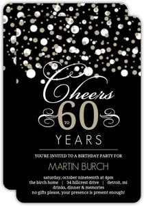 White And Taupe Elegant Confetti Photo 60th Birthday Invitation