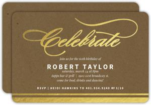 Gold Foil Celebrate Kraft 60th Birthday Invitation