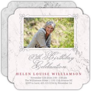 Blush Marble 60th Birthday Invitation