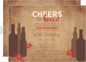 Modern Beer Holiday Birthday Party Invite