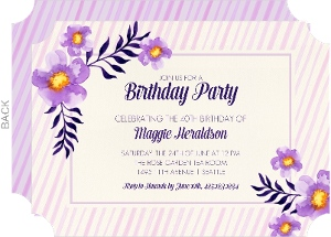 Striped Lavender Blooms Birthday Party Invitation