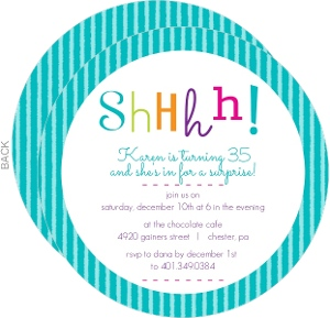 Colorful Shhh Surprise Birthday Invitation