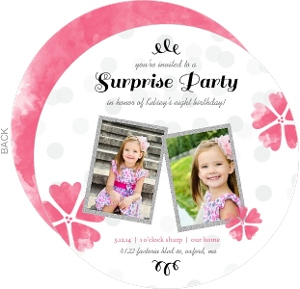 Pink Flowers And Faux Glitter Surprise Birthday Invitation