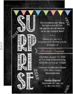 Colorful Chalkboard Streamers Surprise Birthday Invitation