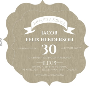 Taupe And Wood Grain Banner Surprise Party Invitation