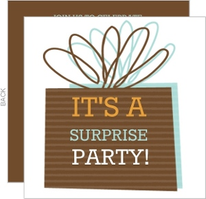 Brown Present Birthday Party Invite - 2941