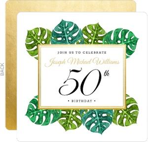 Elegant Tropical Surprise 50th Birthday Invitation