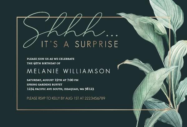 surprise birthday party invitations, Birthday invitations