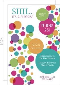 Colorful Bubbles Surprise Birthday Invitation