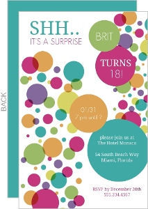 Colorful Bubbles Surprise Birthday Invitation