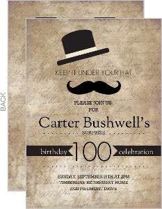 Rustic Black Hats Off Surprise 100Th Birthday Invitation