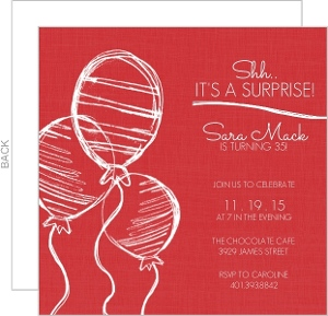 Sketchy Red Balloons Surprise Party Invitation