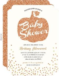 Beautiful Faux Glitter Pumpkin Confetti Baby Shower Invitation