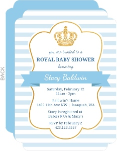 Striped Blue Royal Baby Shower Invitation