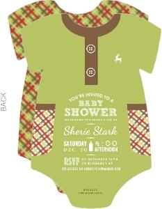 Green Plaid Pattern Baby Shower Onesie Invitation