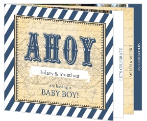 Vintage Navy Stripe Nautical Baby Shower Invitation