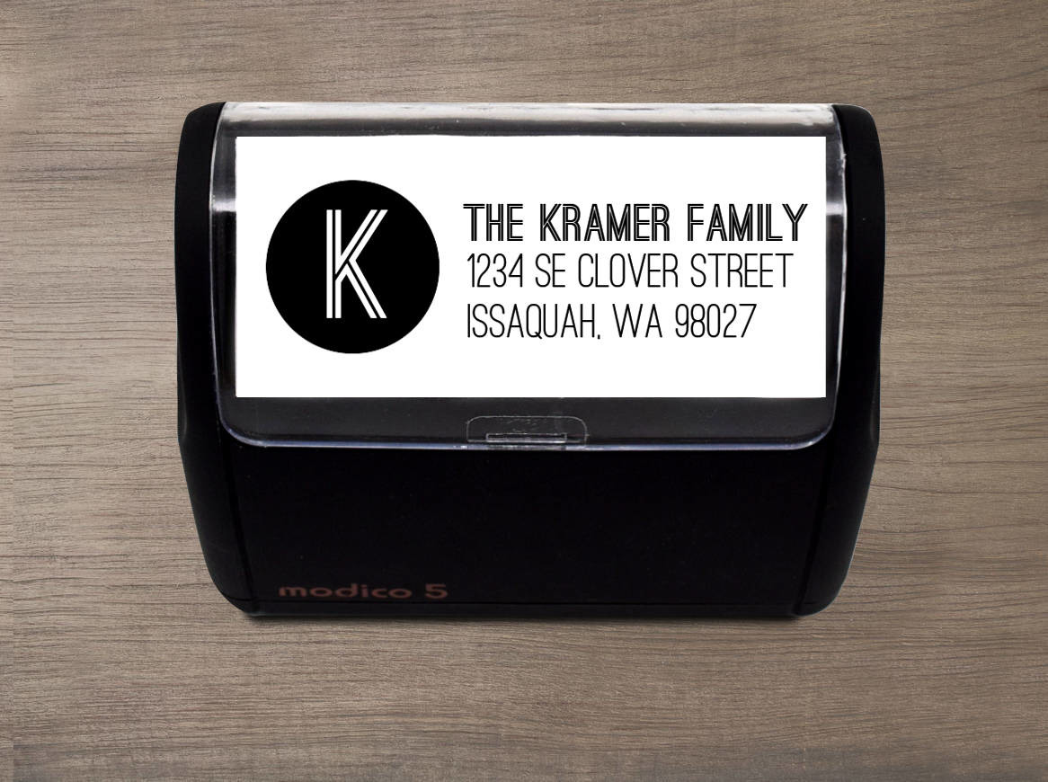 Bold Initial Family Address Stamp