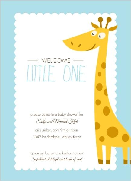 Blue and Orange Giraffe Boy Baby Shower Invitation