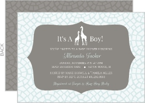Blue Giraffe Boy Safari Baby Shower Invitation