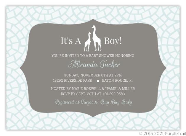 blue giraffe boy safari baby shower invitation   boy baby shower, Baby shower invitations