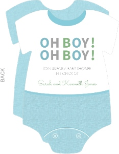 OH BOY  Blue Onesie  Baby Shower Invite