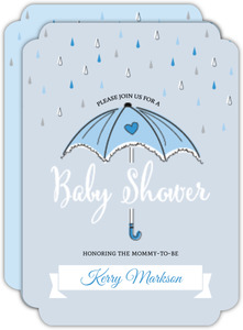 Blue Umbrella Baby Shower Invitation