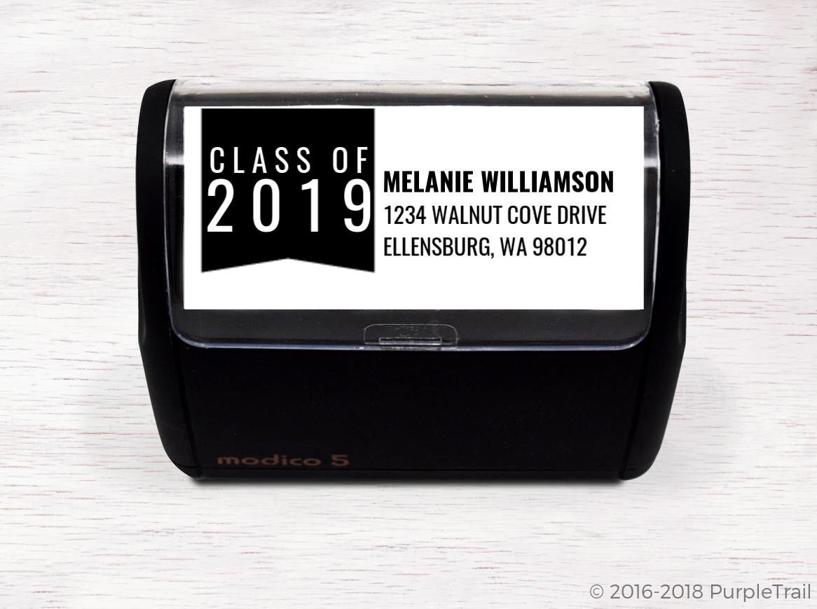 Classic Class Of Graduation Address Stamp