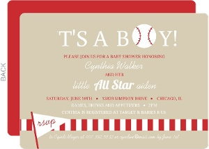 Taupe And Red Baseball Party Invitation