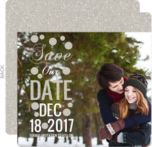 Glitter Wonderland Wedding Save The Date Announcement