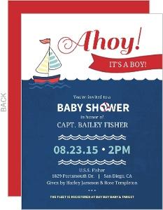 Navy Blue And White Nautical Boy Baby Shower Invitation