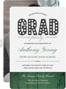 Rustic Green Woodgrain Graduation Photo Invitation