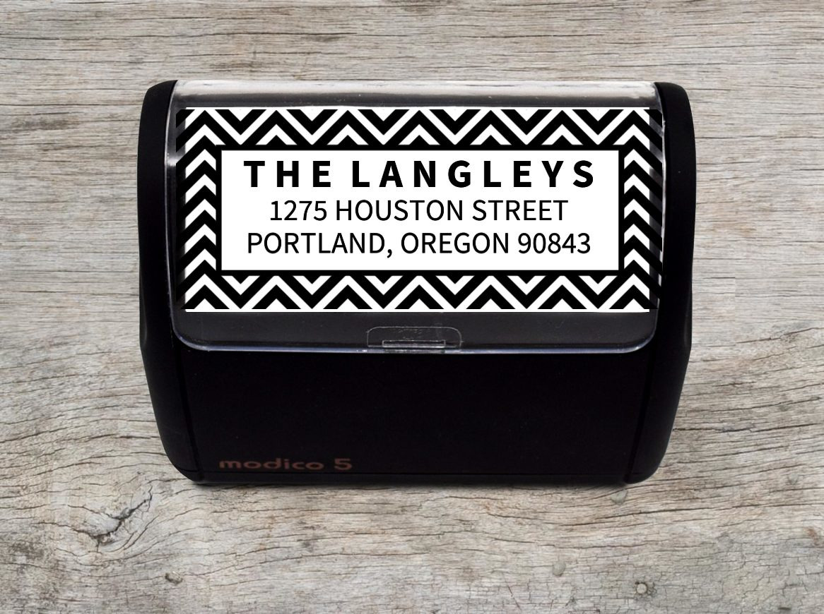 Chevron Pattern Address Stamp