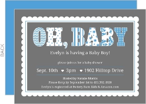 Blue Patterns And Scallop Baby Shower Invite