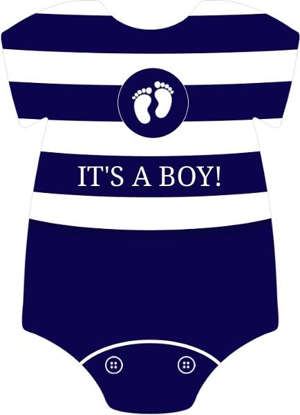 Navy and White Stripes  Boy Baby Shower Invite