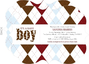 Argyle  Boy Baby Shower Invite