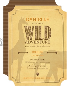 Rustic Yellow Jungle Safari Animal Baby Shower Invitation