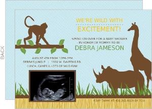 Blue Jungle Animals Safari Sonogram Baby Shower Invitation