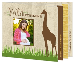 Woodgrain Jungle Safari Animals Baby Shower Invitation