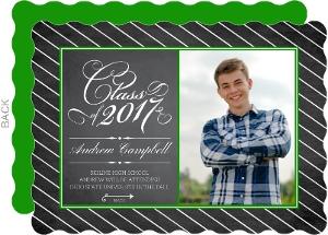 Green Framed Chalkboard Graduation Invitation