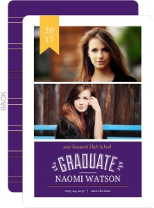 Yellow & Purple Banner Graduation Announcement