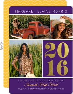 Purple & Gold Foil Graduation Photo Announcements