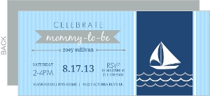 Blue And Gray Sailboat Nautical Baby Shower Invitation